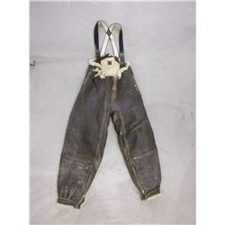 US Air Force Leather Bombardier Pants With Suspenders