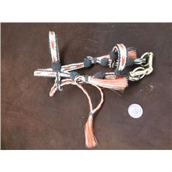 Deer Lodge Prison Hitched Horsehair Mini Headstall- 3 Color-Pineapple Knots- Tassels- Snaffle Bit