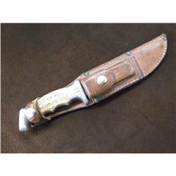 "RH Ruana Bonner Montana Knife- M Mark- Original Sheath With Sharpening Stone- 6"" Blade"