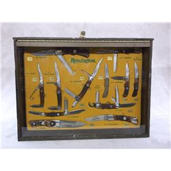 Display Case With 12 Remington Knives- All Original- Boxes and Sheaths for All Knives- Key