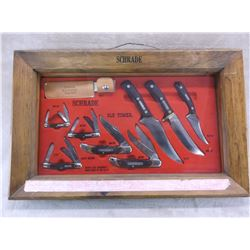 """Display Case With 8 Schrade Old Timer Knives- Original Honesteel- 5 Sheaths- 22""""W X 14""""H X 3.5""""D"""