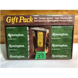 REMINGTON GIFT PACK, 300 .22 CARTRIDGES, POCKET KNIFE