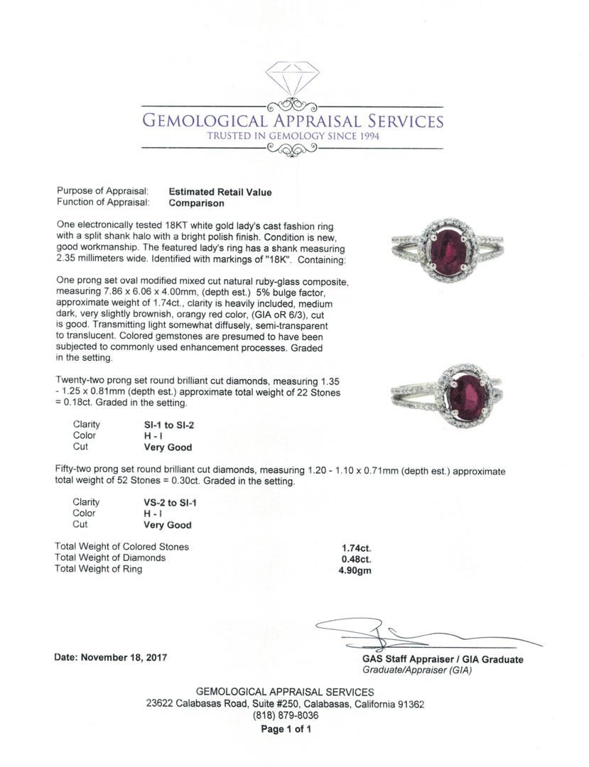 18KT White Gold 1 74 ctw Ruby and Diamond Ring