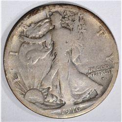 1916-S WALKING LIBERTY HALF DOLLAR, VG/FINE