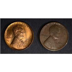 1910 CH BU+ & 1911-S FINE LINCOLN CENTS