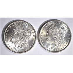 1885 & 1887 CH BU MORGAN DOLLARS