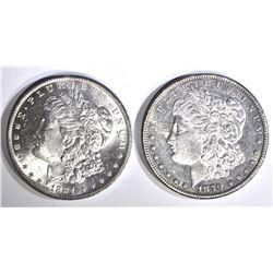 1879-S BU cleaned & 1884-O CH BU MORGAN DOLLARS