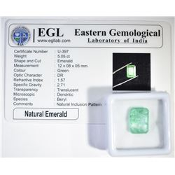 5.05 CARATS EMERALD CUT NATURAL EMERALD