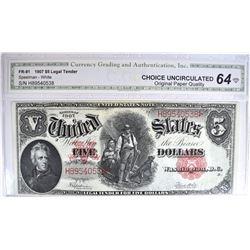 1907 $5 LEGAL TENDER RED SEAL 'WOODCHOPPER'