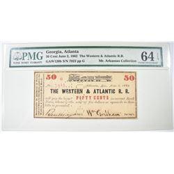 1862 50 CENTS WESTERN & ATLANTIC R.R.