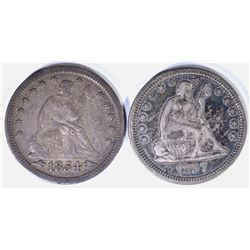 1854 WITH ARROWS & 1857 SEATED QUARTERS, XF
