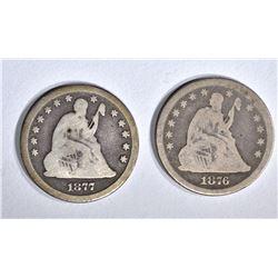 1876-CC & 1877-CC SEATED QUARTERS, VG