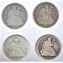4 - SEATED HALVES: 1868-S, 1876, 1876-S