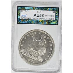1877-S TRADE DOLLAR, NCGS GRADED AU/BU cleaned