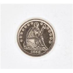 1858 SEATED LIBERTY HALF DIME CH BU