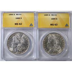 ANACS MORGAN DOLLARS: 1885 MS-63 & 86 MS-62