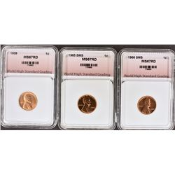 1939, 1965 SMS, 1966 SMS LINCOLN CENTS