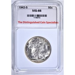 1942-S WALKING LIBERTY HALF, TDCS SUPERB GEM BU