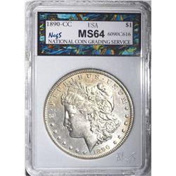 1890-CC MORGAN DOLLAR, NCGS CH/GEM BU
