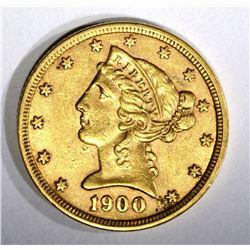1900 $5.00 GOLD LIBERTY  AU