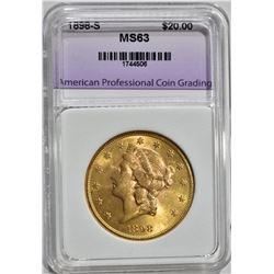 1898-S $20.00 GOLD LIBERTY, APCG CH BU