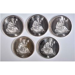 """5-""""SEATED LIBERTY"""" ONE OUNCE .999 SILVER ROUNDS"""