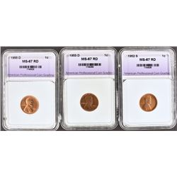 3 - MS-67 RD LINCOLN CENTS APCG: