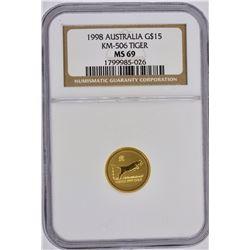 1998 AUSTRALIA 1/10 OZ .9999 GOLD LUNAR TIGER