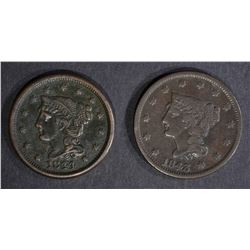 1843 & 1844 LARGE CENTS VF