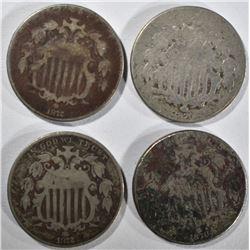 2-1870 & 2-1872 SHIELD NICKELS, BETTER DATES