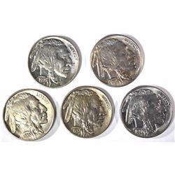 CH BU BUFFALO NICKELS: 1935, 36-S, 37-D, 37 & 36