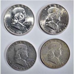 1948, 1950, 1953-D, 1957-D BU FRANKLIN