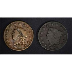 1822 G/VG & 1828 FINE LARGE CENTS