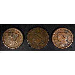 1830 VG, 1849 VG & 1856 VF LARGE CENTS