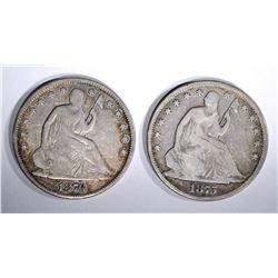 1875 & 1876 SEATED HALF DOLLARS, VG/FINE