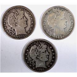 1906, 07 & 15-D BARBER HALF DOLLARS, FINE