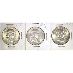 3-1951-S CH BU FRANKLIN HALF DOLLARS