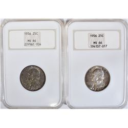 1936 MS64 & 56 MS66 NGC GRADED WASHINGTON QUARTERS