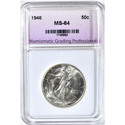 1946 WALKING LIBERTY HALF, NGP SUPERB GEM BU