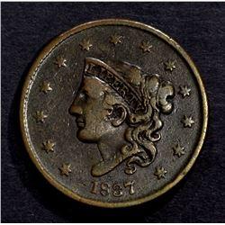 1837 LARGE CENT VF