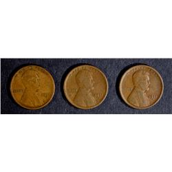 3 - 1911-S LINCOLN CENTS AVG CIRC