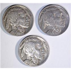 3 - 1931-S BUFFALO NICKELS XF