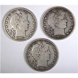 1906-O, 08-O & 15-D BARBER HALF DOLLARS, FINE
