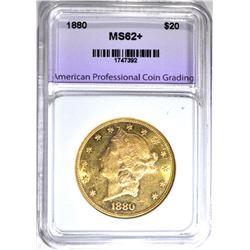 1880 $20.00 LIBERTY GOLD, APCG CH BU