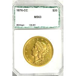 RARE 1876-CC $20 GOLD LIB. OLD PCI HOLDER CH BU+