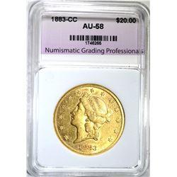 1883-CC $20.00 GOLD LIBERTY, NGP AU/BU