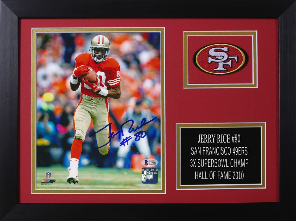 f85ff735c Image 1 : Jerry Rice Signed 49ers 14x18.5 Custom Framed Photo Display  (Beckett