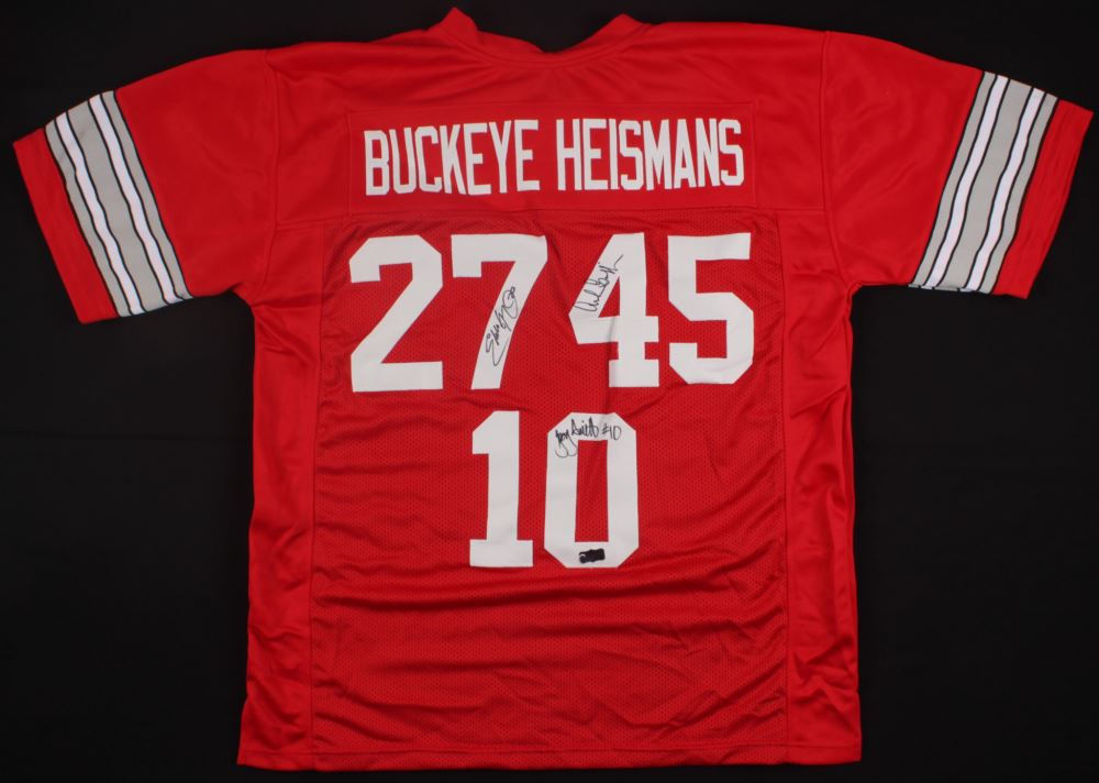 d7934023b45 Image 1 : Eddie George, Archie Griffin Troy Smith Signed Ohio State Buckeyes  Heisman Jersey