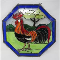 STAINED GLASS ROOSTER PICTURE, (OCTAGONAL 15.5X15.5)