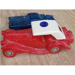 2 AFTERSHAVE BOTTLES, (RED CAR, BLUE CAR)